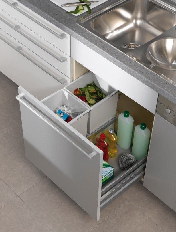 Kitchen, Contemporary pull out trash can stainless steel cabinet heavy duty aluminum slides double white polymer waste containers stainless steel tray gray marble countertop kitchen storage cabinet organizer: Kitchen Trash Can Cabinet