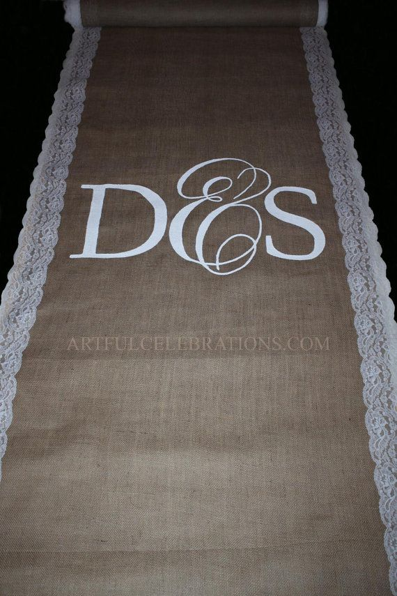 Burlap Aisle Runner with lace and Custom by ArtfulCelebrations, $100.00