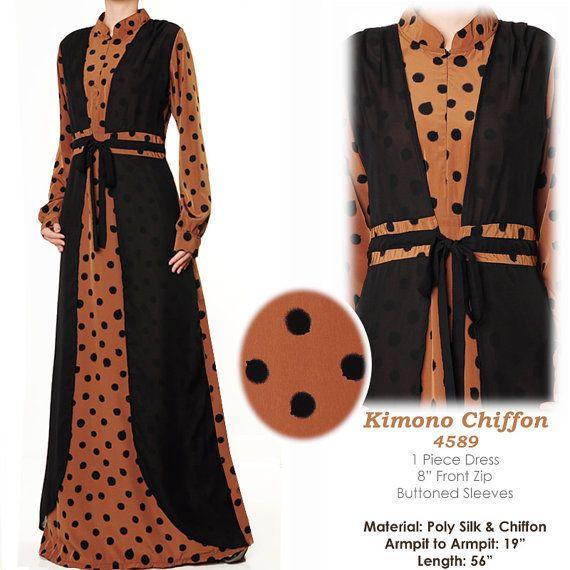 Kimono Inspired Chiffon Abaya Long Sleeves Muslim by MissMode21, $30.00