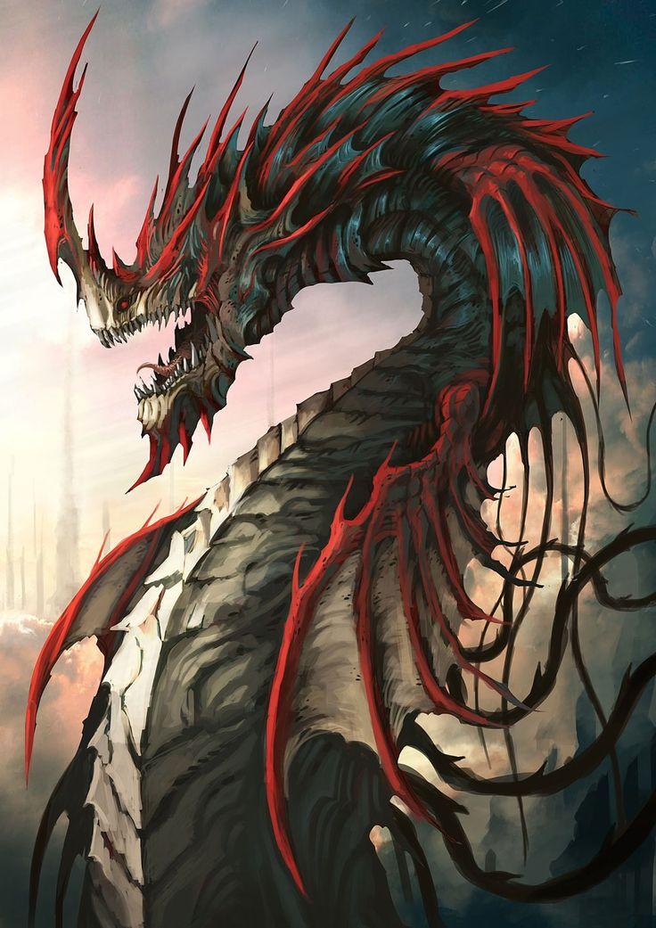 Crimson Naga by gegig dragon like  serpants are good fore tempal gards