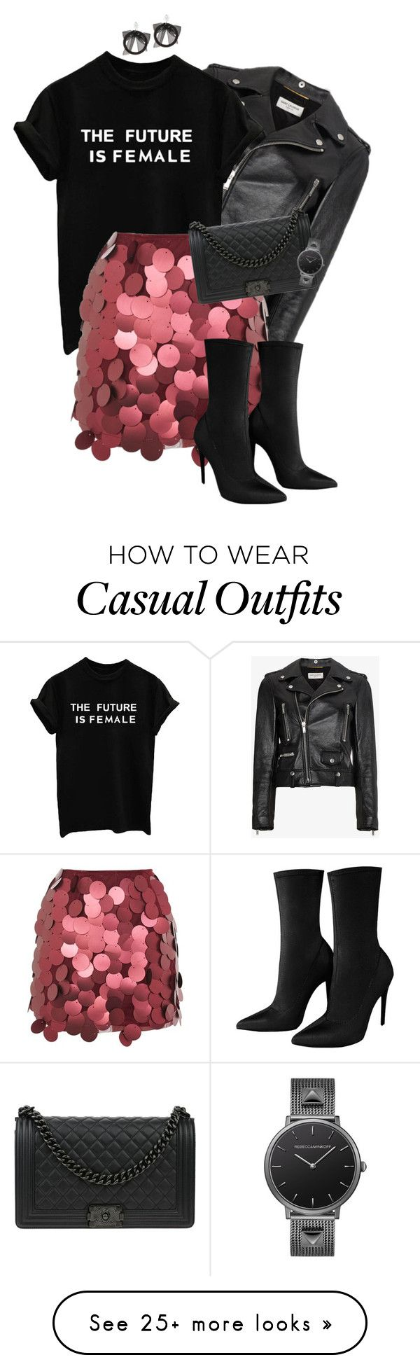 """""""Sequin skirt #fashion"""" by ashley-loves on Polyvore featuring Yves Saint Laurent, Motel, Chanel and Fallon"""