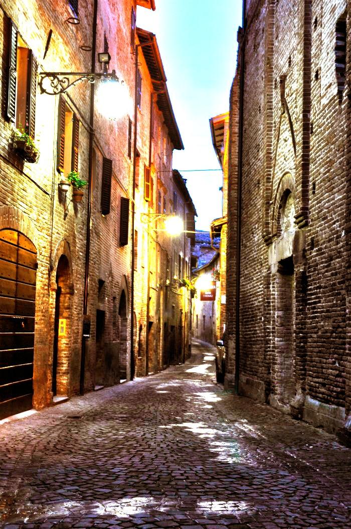 Italian Street outside Ospiti Bed and Breakfast, Sarnano, Le Marche