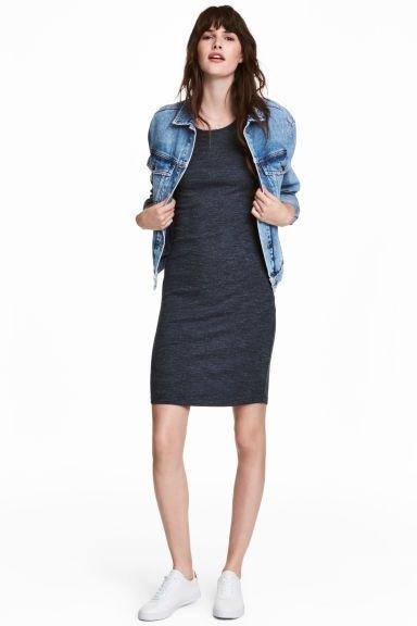 Žerzejové šaty - Tmavě modrý melír - ŽENY | H&M CZ 1