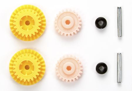 Mini 4WD PRO High Speed EX Gear Set (for MS Chassis/Gear Ratio 3.7:1). This gear set offers a 3.7:1 ratio for increased acceleration performance compared to Mini 4WD PRO Super Speed Gear Set (for MS Chassis), which has the ratio of 3.5:1, giving racers another option to tune their machines.