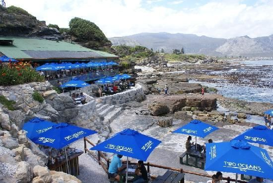Bientang's Cave restaurant, Hermanus, South Africa. Watch whales while you eat. Nothing like it on earth. http://www.windsorhotel.co.za/