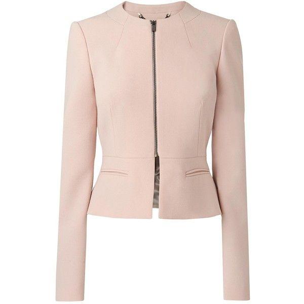 L.K. Bennett Una Tailored Peplum Jacket (570 BAM) ❤ liked on Polyvore featuring outerwear, jackets, pink jacket, summer jacket, collarless jacket, pink peplum jacket und zip jacket