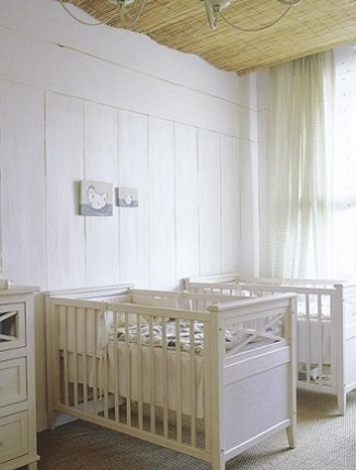 A serene, rustic nursery for twins from micasa.com.