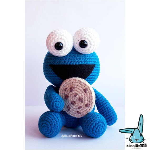 THIS item is PATTERN ONLY! You will receive 2 .PDF digital files in English and French with simple crochet description and crochet steps photos.  If you will use the similar yarn and hook size as Blue Rabbit, your Cookie Monster 13cm= 5.1in high will be.  You can sell items made from this pattern, provided that they are handmade by yourself and you give credit to the designer. Please add the following lines to your item description and any item you are selling: Pattern from BlueRabbit - ...