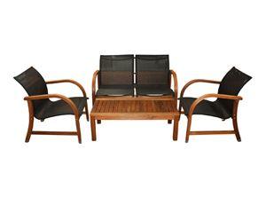 Set mesa+2 sillones+sofá madera Oahu. - .