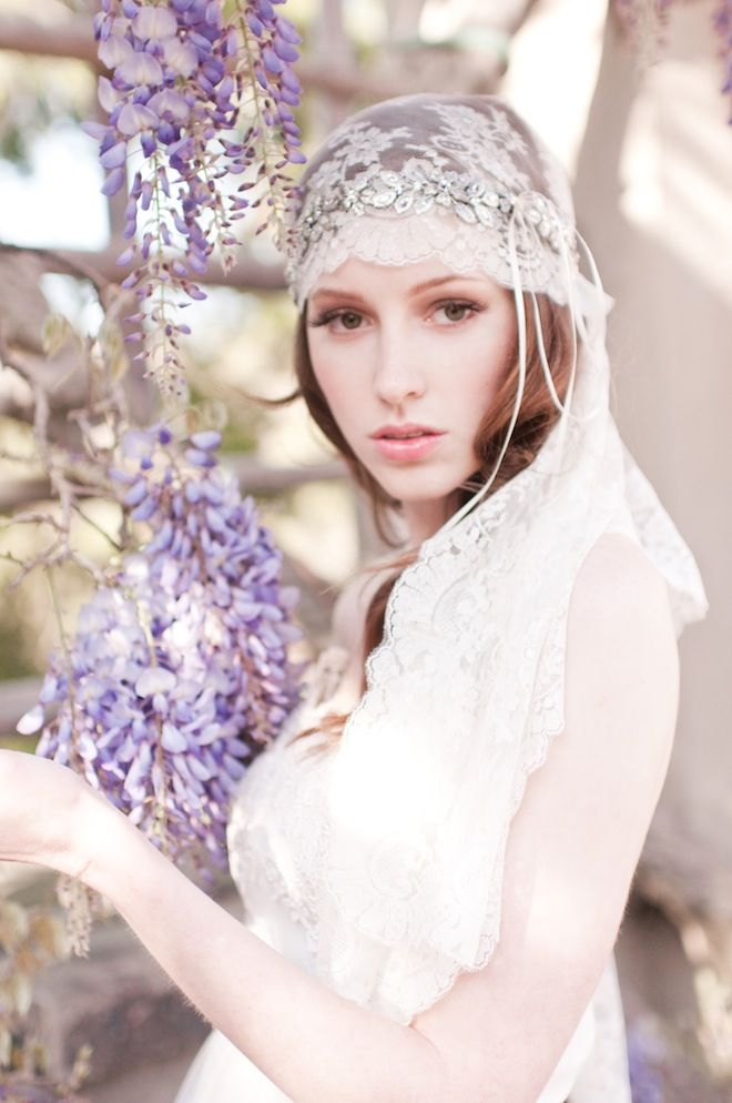 Love the combination of sparkly halo over the top of a lace cap veil.    Romantic Headpieces & Accessories By Enchanted Atelier | Bridal Musings