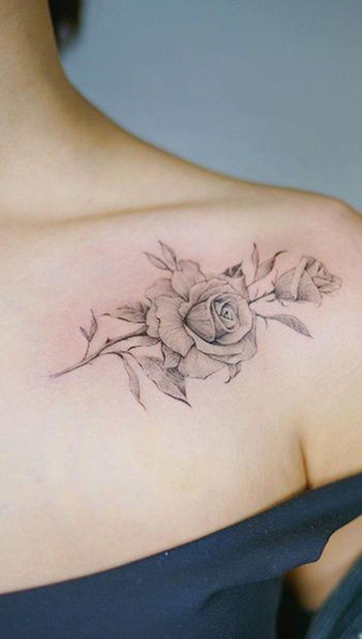 Einfache Rose Tattoo auf der Schulter – MyBodiArt.com #ad
