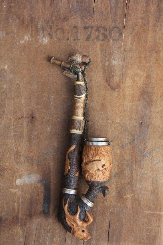 Vintage 1920 S German Wooden Carved Pipe With Deer Scene