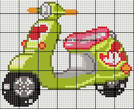 Scooter Cross Stitch or Perler Bead Pattern