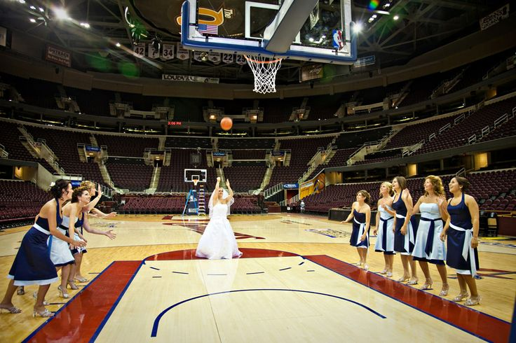 bride on basketball court | | Wedding Photographers Cleveland Ohio | Best Cleveland Wedding ...
