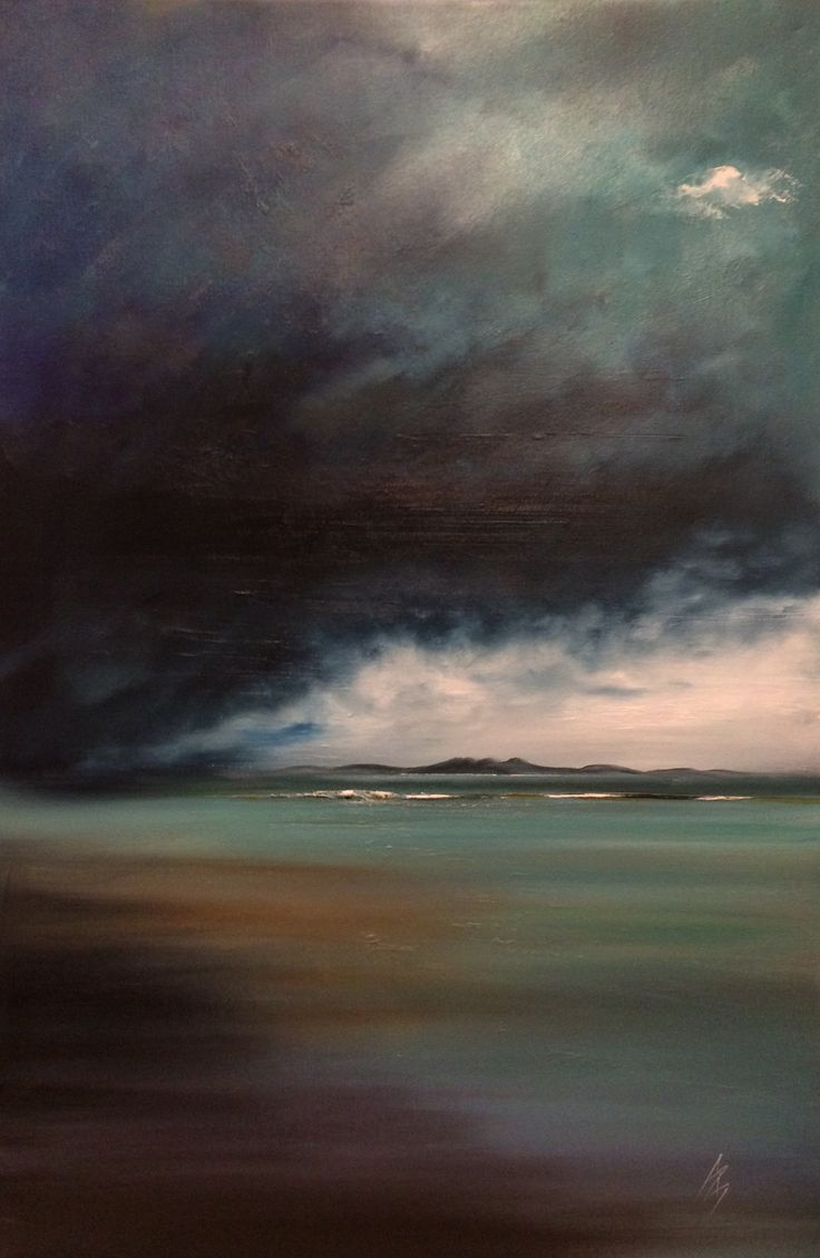 Michael Murphy Scottish artist. 'Storm, Arran'. Oil.
