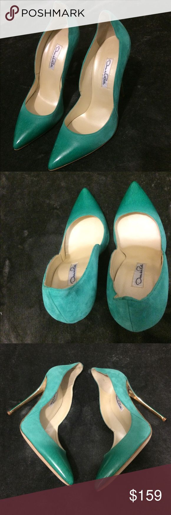 Oscar de la Renta Tami suede pointy toe pumps 39/9 Gorgeous. Unique. Soft Comfy Seafoam green suede Oscar de la Renta Tami pumps with patent leather pointed toes and covered heels featuring gold-tone metal accents. Size Italian 39 / US 9  Imagine these pumps with a sharp black dress on NYE 2018.  Originally $670   Display Pair. Slight signs of being tried on. Otherwise nearly pristine.    Please do your own research on the fit (runs small/large/true-to-size) typical of the designers shoes to…