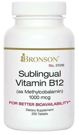 Nutritional Supplement Sublingual B12 1000 mcg 100 Tablets  for Diabetic Neuropathy By Bronson – 233A