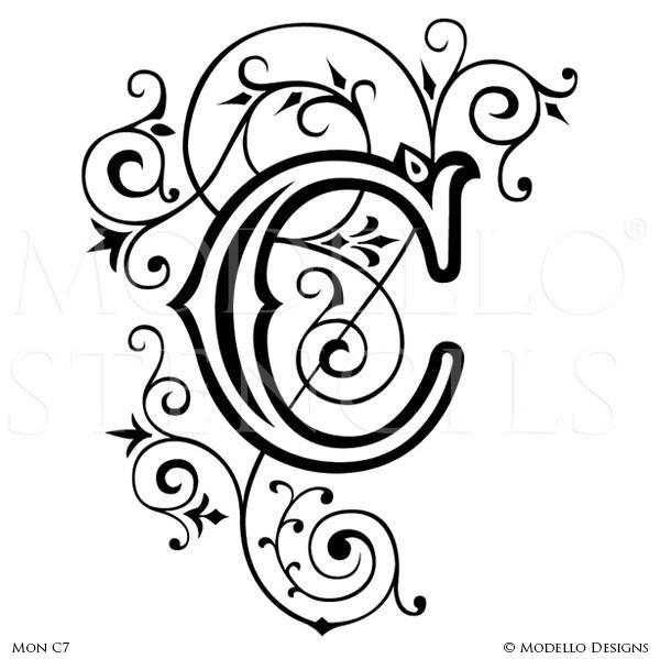 Letter C Alphabet Lettering Stencils for Decorative Painting Projects - Modello Custom Stencils