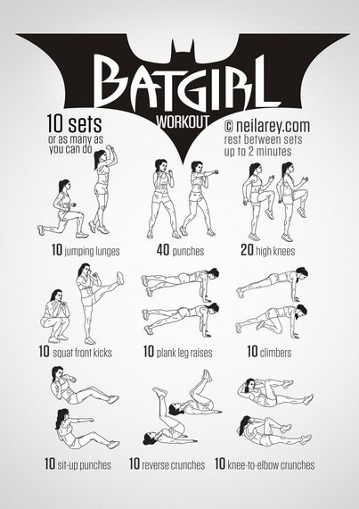 Tryout this Batgirl workout routine. Perfect to lose weight and get fit without going to the gym!