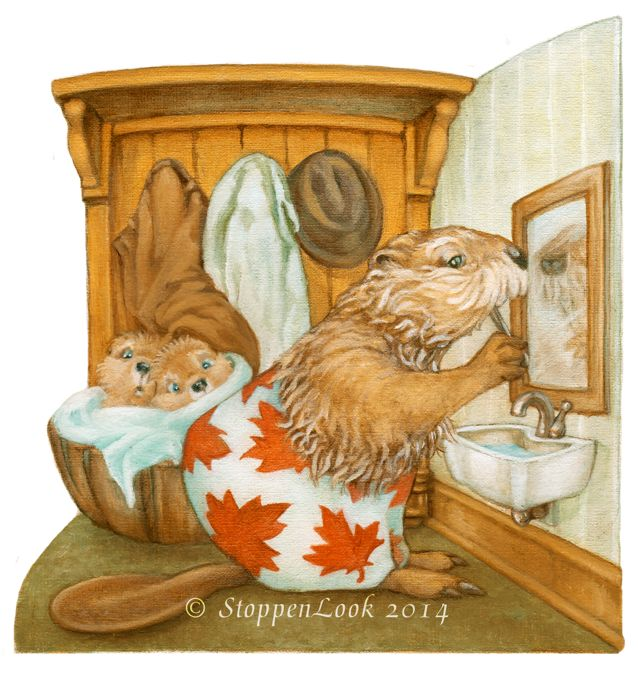"These two little beavers don't quite know what to make of their Grampy's boxer shorts! Mind you, they shouldn't be hiding in the laundry basket either! I had wanted to do a Canadian Peek™ for Canada Day and, I believe, it doesn't get much more Canadian than large, red maple leaves; beavers and...a hat (hanging on the wardrobe hook) that was modeled after Leonard Cohen's ;) Size: 6.5""x6.5"" on 8""x8"" Archival watercolour paper. Titled, signed and dated by the artist. Peekabout™ No: 2-4"