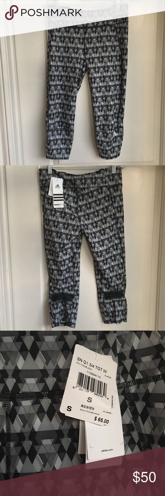 """Adidas Supernova Capri Adidas Supernova capris. Black, white, and gray triangle pattern. NWT! Size small. Extra wide waistband.   Measurements:  Waist: 13"""" Rise: 9.5""""  Inseam: 18.25"""" adidas Pants Capris"""