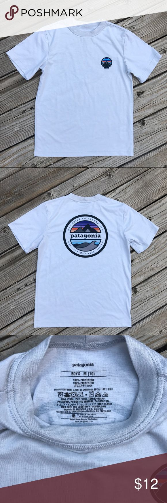 Patagonia T-Shirt Sz: M(10) Boys short sleeve T with logo on the vest and back Patagonia Shirts & Tops Tees - Short Sleeve