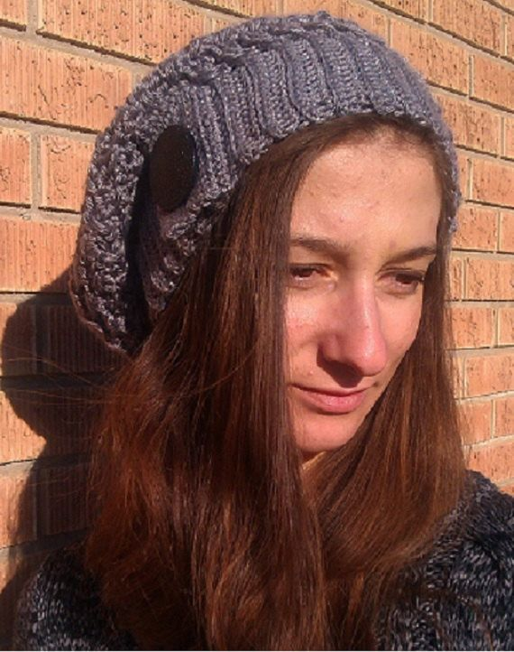 crochet slouchy beanie beret hat in grey by SabinesCountryShop, $30.00