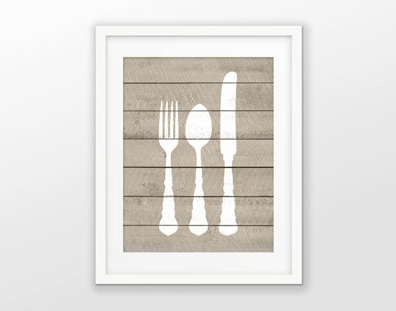 Fork Knife And Spoon Wood Wall Art Poster