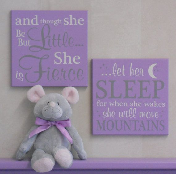 Purple Baby Girl Nursery Signs: and though she be by NelsonsGifts