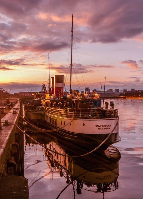 Waverley Glasgow the last former sea-going paddle steamer in existence. Docked in Helensburgh.