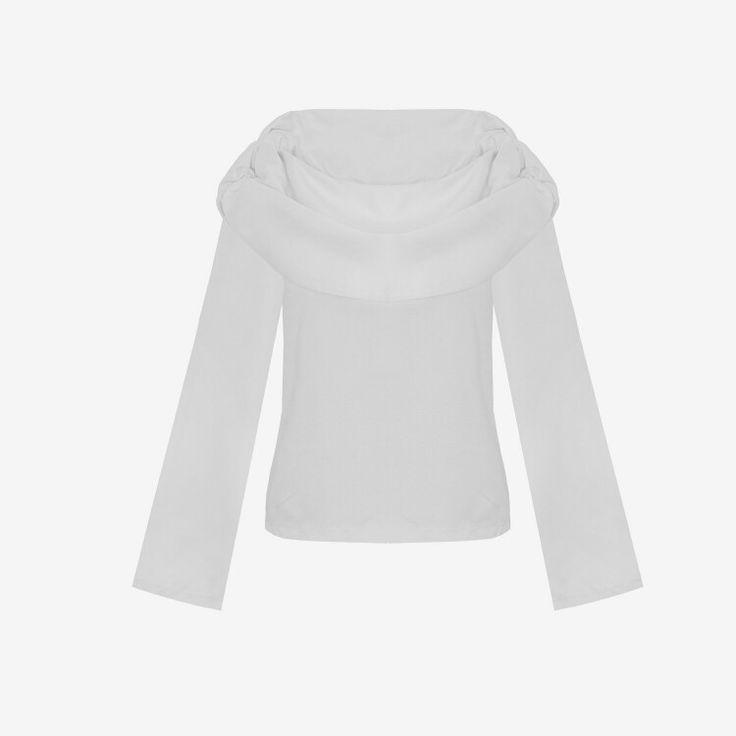 White shirt, bell sleeve top, elegant blouse, biała koszula damska