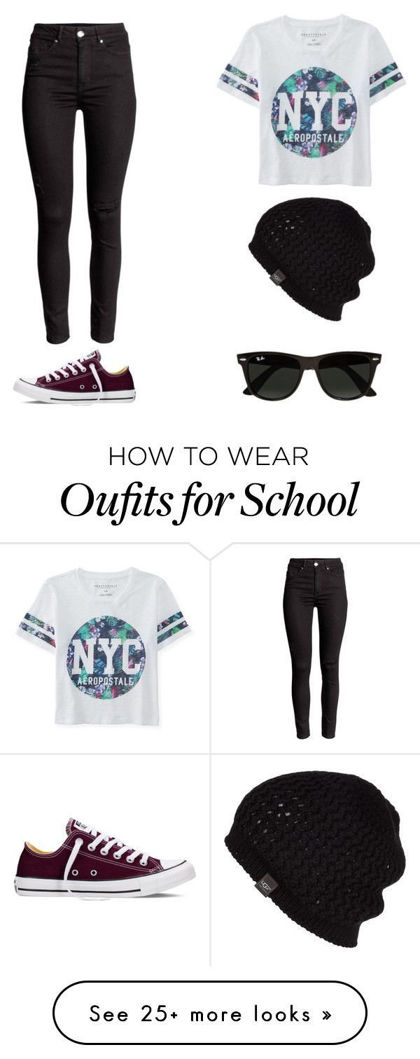 """""""School Outfit!! """" by mariekebattaglia on Polyvore featuring Aéropostale, Converse, UGG Australia, Ray-Ban, women's clothing, women, female, woman, misses and juniors Check our selection  UGG articles in our shop!"""