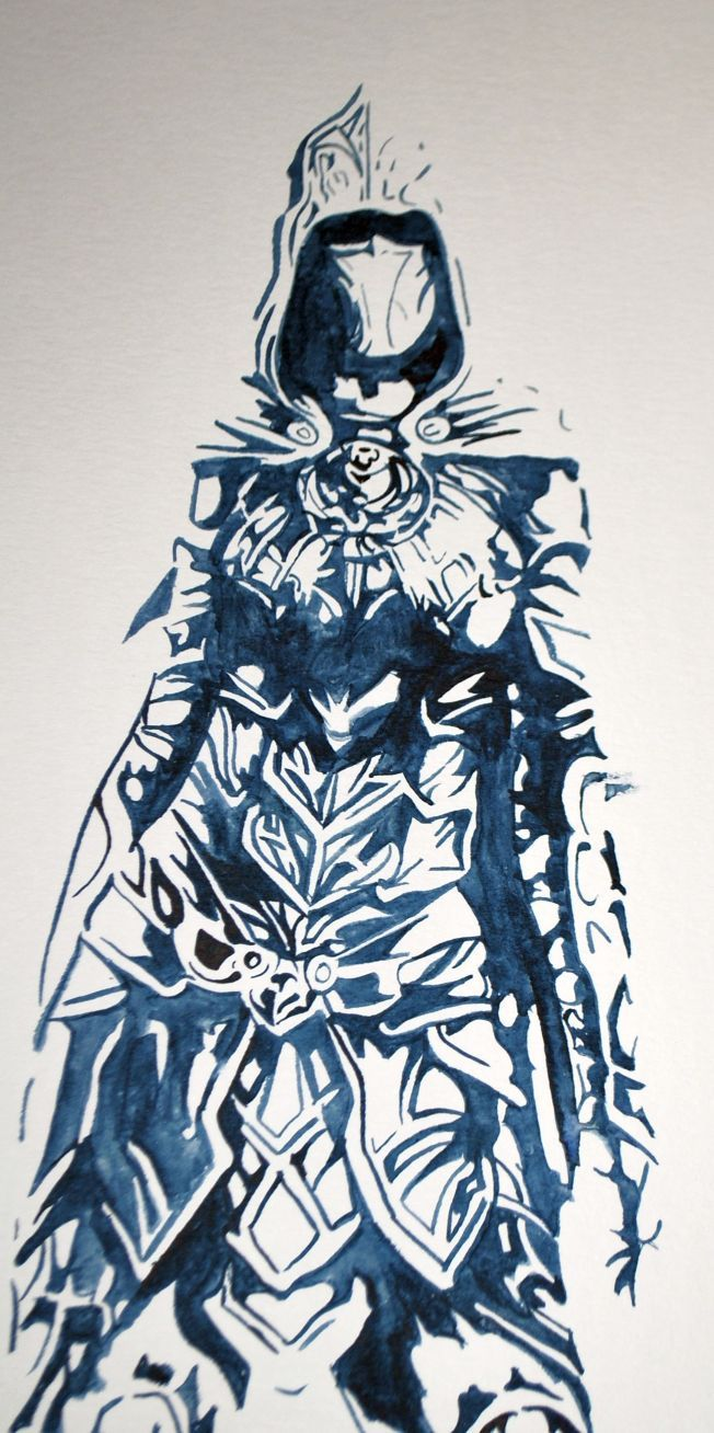 "Nichelle Lyons, ""Skyrim: Nightingale"" Watercolor on paper"