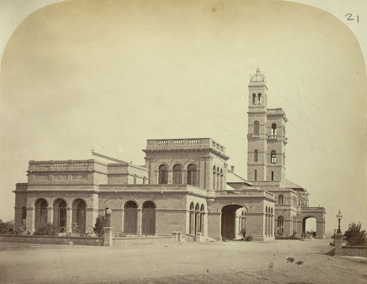 Government House, Guneshkhind, Poona [Pune] - Now the University of Pune's Main Building. University of Pune's Main Building, built in 1864, was once the residence of the governors of Bombay during the British Raj. The building was designed by James Trubshawe & is inspired by Prince Albert's Osborne House on the Isle of Wight.