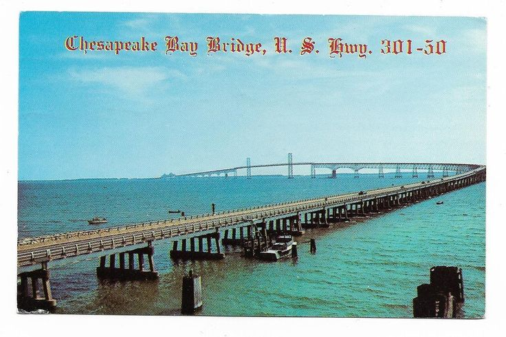 Vintage Maryland Chrome Postcard Chesapeake Bay Bridge U S Highway 301-50 | eBay