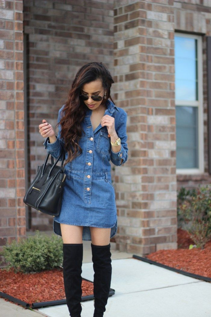 Love this denim dress paired with over the knee boots. Click through to shop.