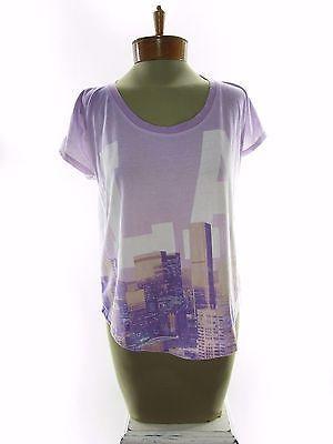 DOE Urban Outfitters Women's Short Sleeve LA Print Shirt Top Sz M Medium Purple