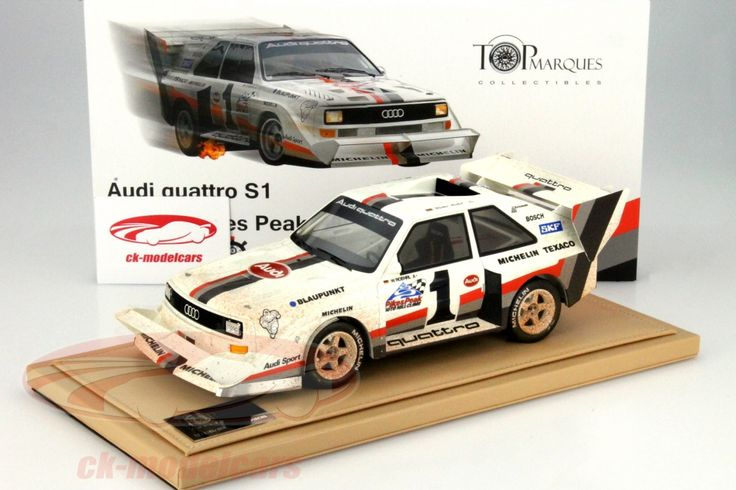 Audi Quattro S1 Dirty Version, Winner Pikes Peak Hill Slimb 1987, No.1, Walter Rohrl. TopMarques, 1/18, Limited Edition 300 pcs. Price (2016): 200 EUR.