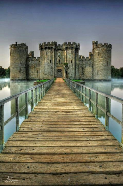 Bodiam Castle is a 14th century moated CASTLE in the East Sussex, England, it was built in 1385.