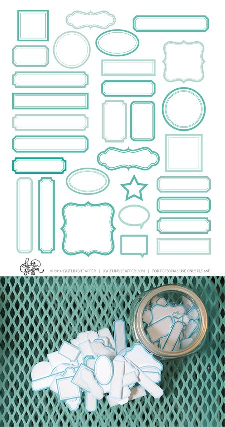 free turquoise labels print & cutting file #Silhouette #CutFile