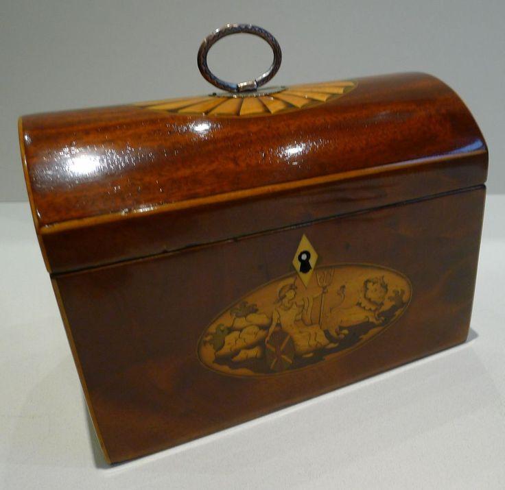 Rare English Georgian Dome Top Mahogany Tea Caddy With Fan & Britannia Inlay c.1800 Puckering's/Ruby Lane
