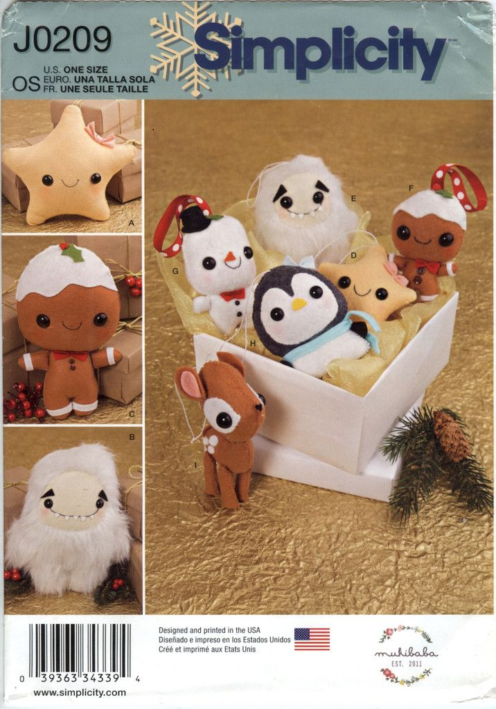 168 best images about christmas craft and sewing patterns for Simplicity craft pattern 4993