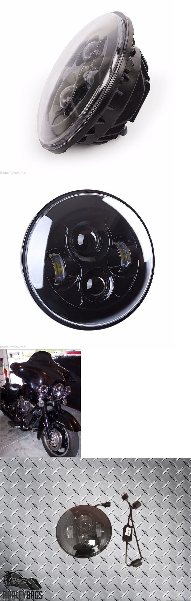 motorcycle parts: Harley Davidson Motorcycle Daymaker Led Bright Headlight 7 Light Bulb Black BUY IT NOW ONLY: $79.59