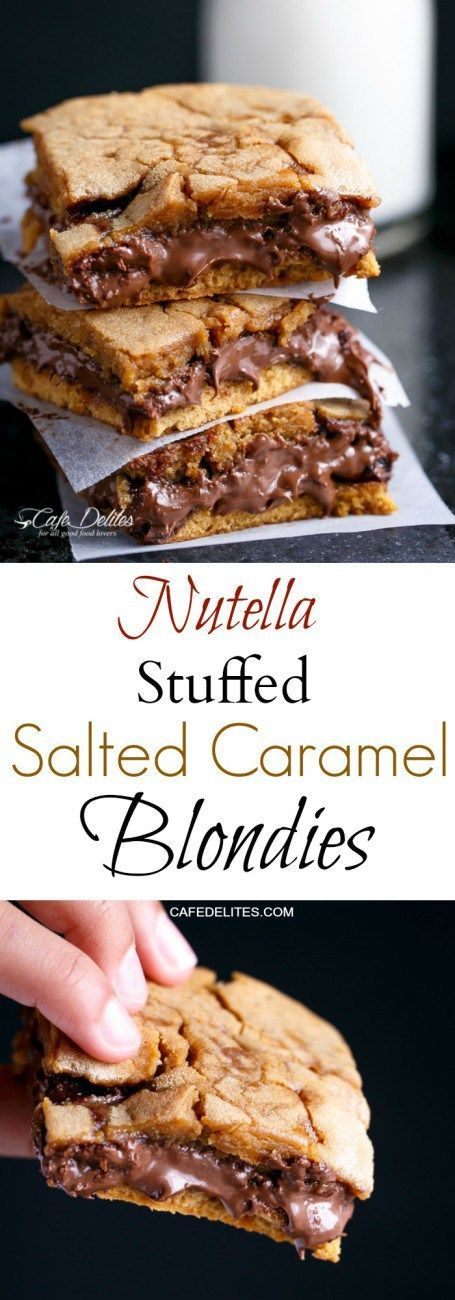 Nutella Stuffed Salted Caramel Blondies | cafedelites.com