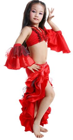 4,Piece Girls Spanish Ruffle Belly Dance Costume , RED / BLACK http/