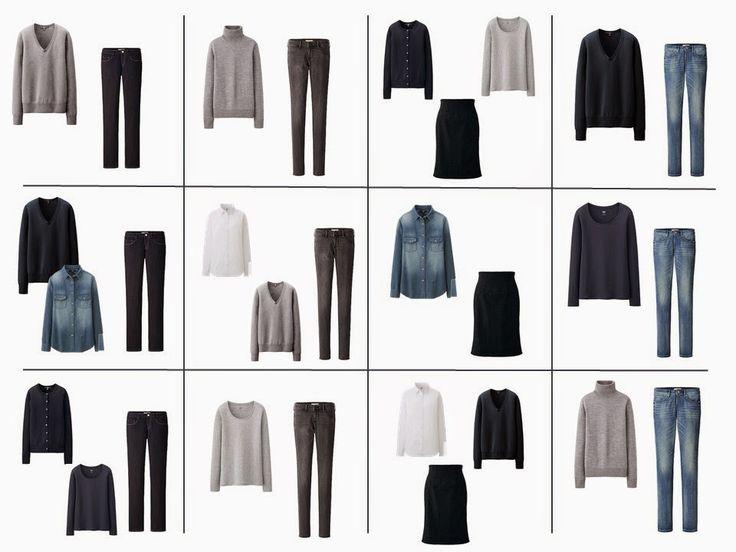 12 возможных нарядов из 12 частей Общий Шкаф классический гардероб основной нейтральный шкаф для одежды
