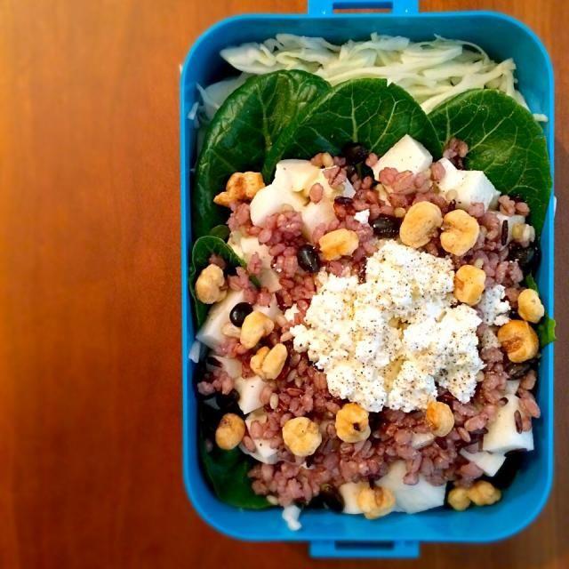 おはようございます。  今日は桜流しになりそうですね。 近所の満開の枝垂れ桜がこの雨で随分と散ってました。  本日は、ジャイアントコーンの小さいサイズ‼︎ スモールコーンを見つけたのでサラダに入れてみました。 ランチが楽しみです。   本日のお弁当 *千切りキャベツ *16雑穀米ごはん *豆腐 *山芋 *スモールコーン *カッテージチーズ *地中海レタス  それでは、今週も‼︎ 頑張ってお仕事お仕事。  - 121件のもぐもぐ - 私のダイエット‼︎ヘルシー弁当♪「 雑穀米サラダ」 by You