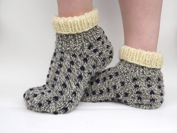 Hand knit warm thrum wool slippers