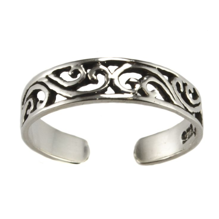 Sterling Silver Leaf Design Adjustable Toe Ring with Oxidized Detail EZ7KAiv