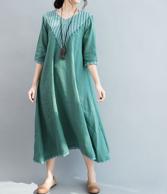Khaki long linen dress/ Fashion long maxi dress by MaLieb on Etsy